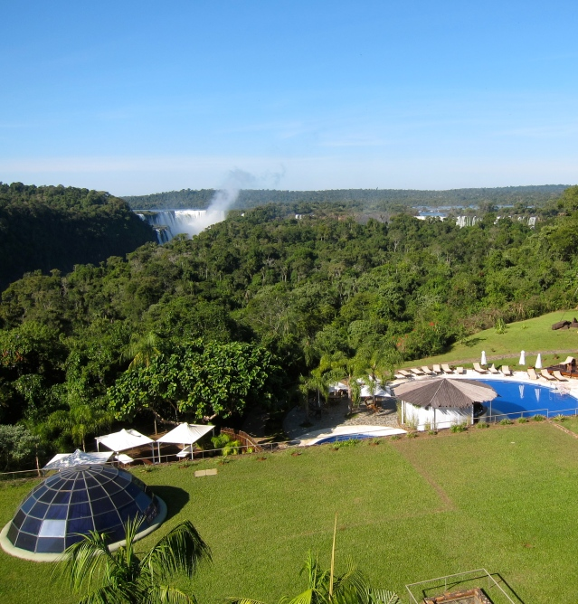 View of the main falls from the balcony, overlooking the pool.