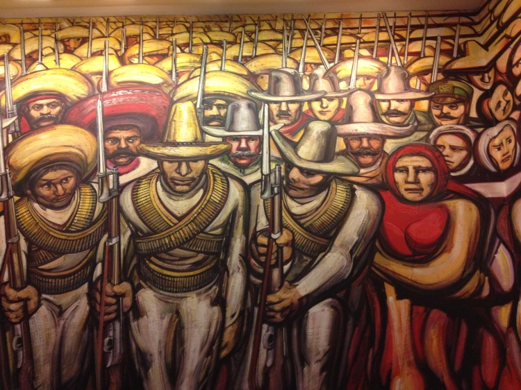 Section of the famous Siqueiros mural in Chapultapec Castle