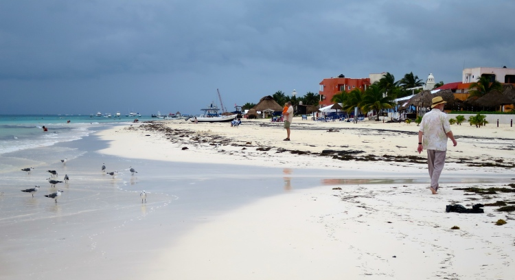 On the walk along the beach into Puerto Morelos, ahead.