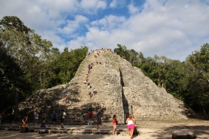 You can climb to the top of one of the Coba pyramids.