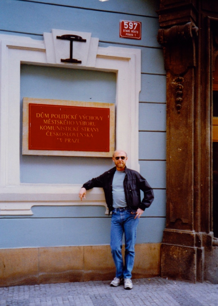 At the office of the Czechoslovak writers club, 1989, Prague.