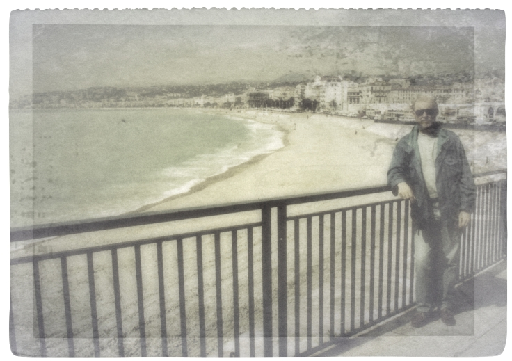 Overlooking the rocky beach at Nice, France. I forgot when. Late 80s.