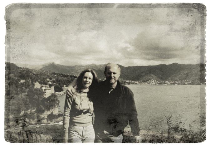 With Holly, overlooking Portofino, Italy. 1989.