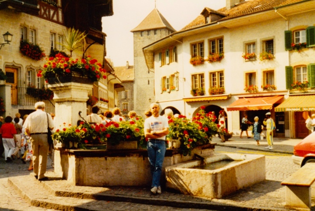 In downtown Murten, Switzerland. My wife's namesake town.