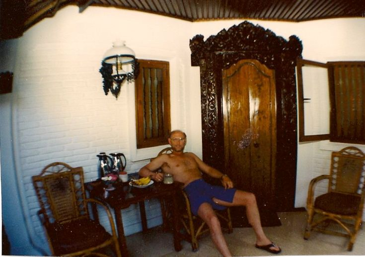 Waiting for the breakfast delivery at Poppies, Bali. This cottage, which was larger than some apartments I've lived in, with breakfast included, costs about $25 a night -- in those days of yore.