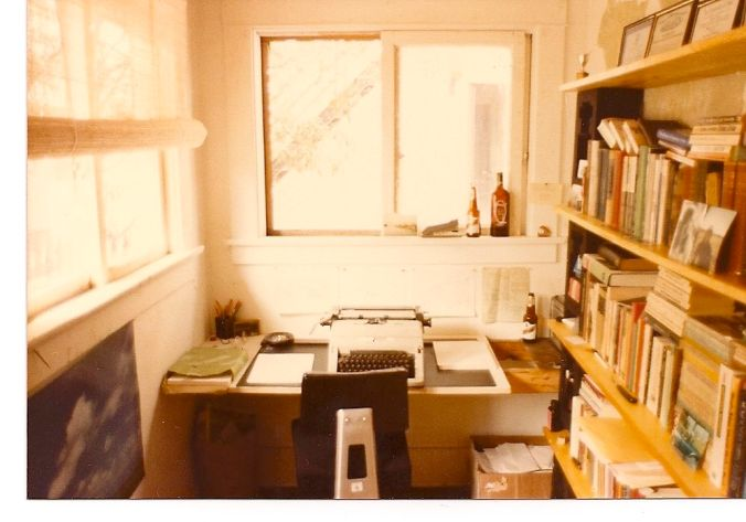 I wrote four novels on this typewriter in this room in a tiny bungalow on 4th Street in Coronado, during the 80s. The beer and tequila and full ashtray helped.