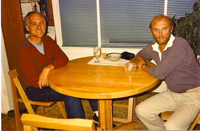 Having a whisky at the end of the work day with my old friend, the novelist, Ken Kuhlken. 1984. Coronado.