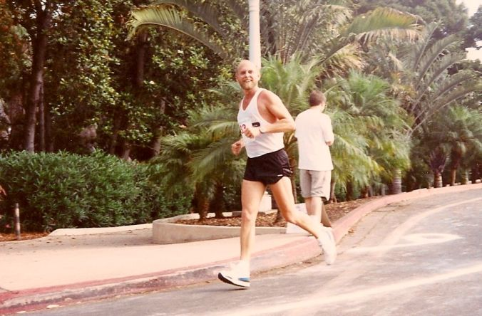Running half marathons. At this point, through Balboa Park in San Diego. 1986, I think.