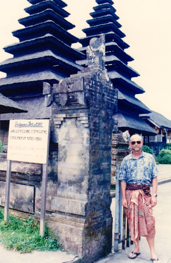 My temple outfit. In rural Bali. You had to cover your legs, so this was my ensemble. Love the color contrast. Oh, you also can't go in if you're menstruating, but that wasn't an issue for me.