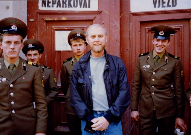 Speaking of Prague, 1989, here I am with a group of Russian soldiers, about a month before the fall of the Wall.