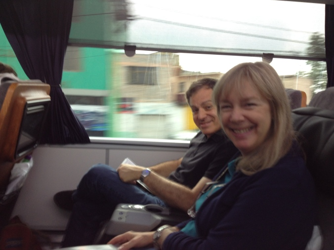 Dick & Holly on the bus, one of the rare moments they weren't both doing the Blackberry tango.