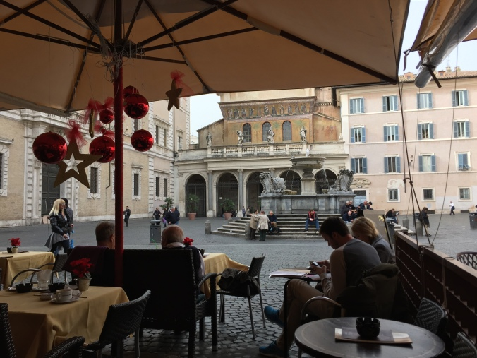 This is that view. It is the Piazza S. Maria in Trastevere.